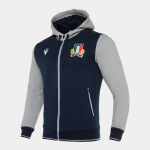 Italy 2019/20 Players Travel Full Zip Hooded Rugby Sweat