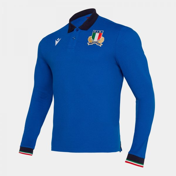 Italy 2019/20 Pique L/S Cotton Rugby Polo Shirt